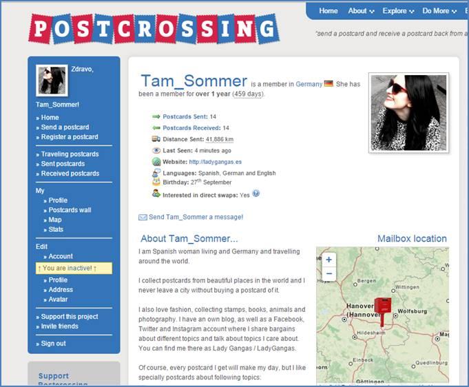Perfil de Tam Sommer en Postcrossing
