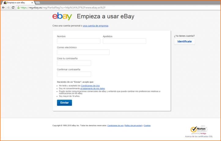 Registro en eBay